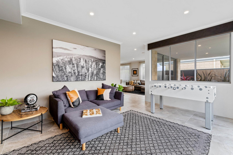 4 bed, 2 bath single storey home design Perth with 16.30m frontage by Aussie Living Homes