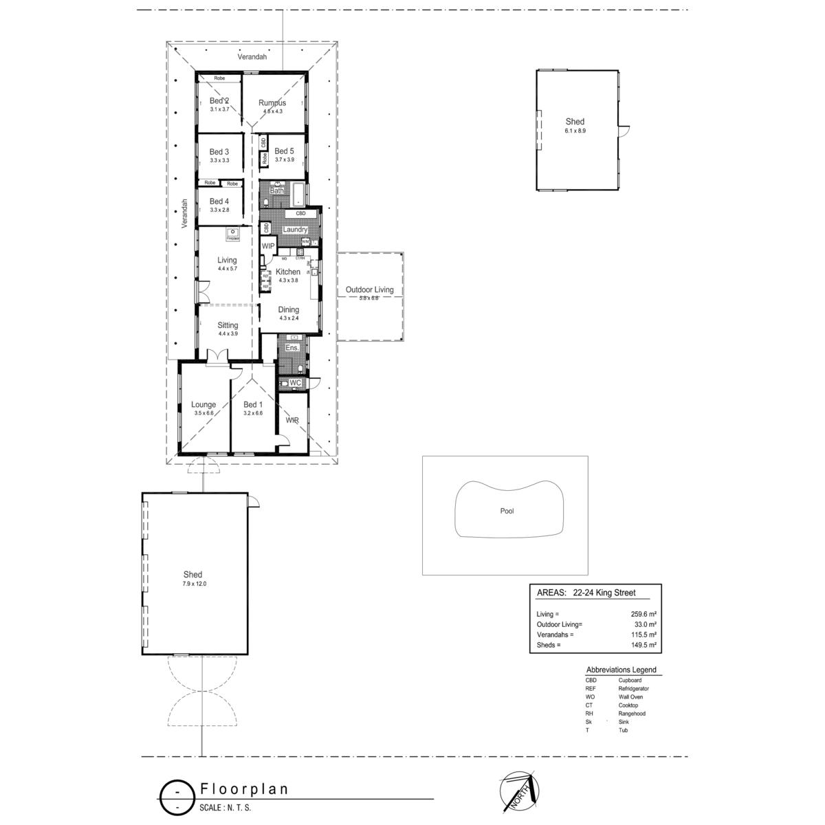 2224 King Street Uranquinty Fitzpatricks Real Estate Wagga Wagga – Site Plan Abbreviations
